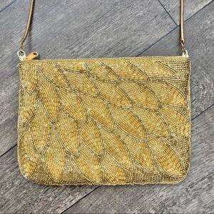 Vintage La Regale Gold Beaded Crossbody Purse